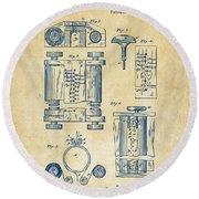 1889 First Computer Patent Vintage Round Beach Towel