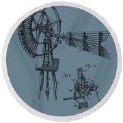 1889 Windmill On Blue Round Beach Towel
