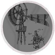 1889 Windmill Patent Round Beach Towel