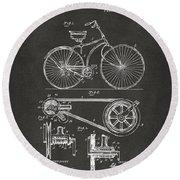1890 Bicycle Patent Artwork - Gray Round Beach Towel