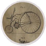1890 Bicycle Patent Round Beach Towel