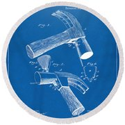 1890 Hammer Patent Artwork - Blueprint Round Beach Towel