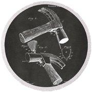 1890 Hammer Patent Artwork - Gray Round Beach Towel