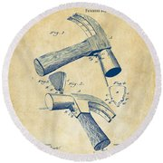 1890 Hammer Patent Artwork - Vintage Round Beach Towel