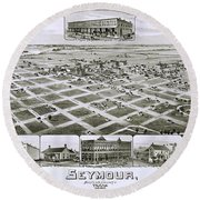 1890 Vintage Map Of Seymour Texas Round Beach Towel