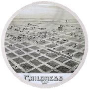 1890 Vintage Map Of Childress Texas Round Beach Towel