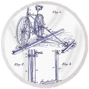 1891 Bicycle Patent Blueprint Round Beach Towel