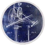 1891 Bicycle Patent Drawing Blue Round Beach Towel