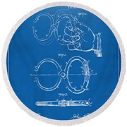 1891 Police Nippers Handcuffs Patent Artwork - Blueprint Round Beach Towel