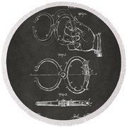 1891 Police Nippers Handcuffs Patent Artwork - Gray Round Beach Towel