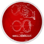 1891 Police Nippers Handcuffs Patent Artwork - Red Round Beach Towel