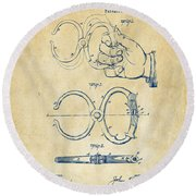 1891 Police Nippers Handcuffs Patent Artwork - Vintage Round Beach Towel