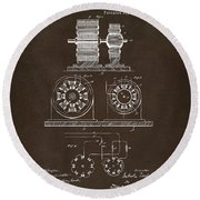 1891 Tesla Electro Magnetic Motor Patent Espresso Round Beach Towel