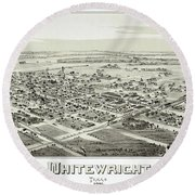 1891 Vintage Map Of Whitewright Texas Round Beach Towel