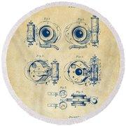 1892 Barker Camera Shutter Patent Vintage Round Beach Towel