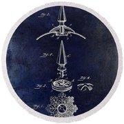1892 Motorcycle Helmet Spike Patent Drawing Blue Round Beach Towel