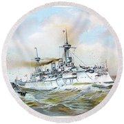1895 - The Brandenburg Squadron At Sea - Color Round Beach Towel