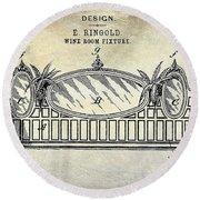 1895 Wine Room Fixture Design Patent Round Beach Towel