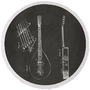 1896 Brown Guitar Patent Artwork - Gray Round Beach Towel