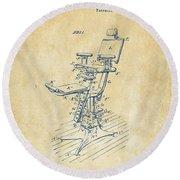 1896 Dental Chair Patent Vintage Round Beach Towel