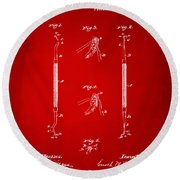 1896 Dental Excavator Patent Red Round Beach Towel
