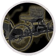 1896 Quadricycle Henry Fords First Car Round Beach Towel