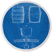 1898 Beer Keg Patent Artwork - Blueprint Round Beach Towel