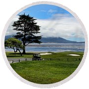 18th At Pebble Beach Panorama Round Beach Towel
