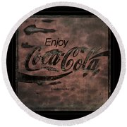 Coca Cola Sign Grungy Retro Style Round Beach Towel