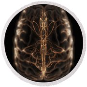 Brain With Blood Supply Round Beach Towel