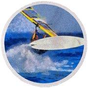 Windsurfing Round Beach Towel by George Atsametakis