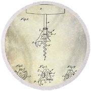1900 Corkscrew Patent Drawing Round Beach Towel