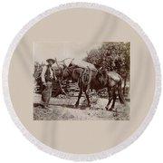 1900 Cowboy Round Beach Towel