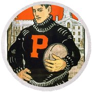 1901 - Princeton University Football Poster - Color Round Beach Towel