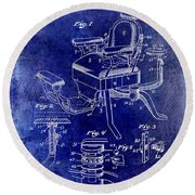 1901 Barber Chair Patent Drawing Blue Round Beach Towel