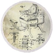 1901 Barber Chair Patent Drawing  Round Beach Towel