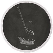 1901 Hockey Stick Patent Artwork - Gray Round Beach Towel
