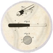 1902 Baseball Bat Patent Round Beach Towel