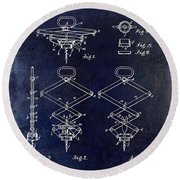 1902 Corkscrew Patent Blue  Round Beach Towel