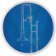 1902 Slide Trombone Patent Blueprint Round Beach Towel