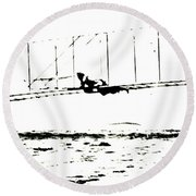 1902 Wright Brothers Glider Tests Round Beach Towel