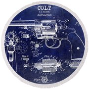 1903 Colt Revolver Patent Drawing Blue Round Beach Towel