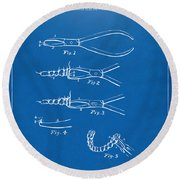 1903 Dental Pliers Patent Blueprint Round Beach Towel
