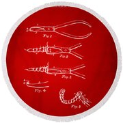 1903 Dental Pliers Patent Red Round Beach Towel