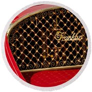 1904 Franklin Open Four Seater Grille Emblem Round Beach Towel by Jill Reger