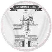 1906 Well Drilling Apparatus Patent Drawing - Retro Gray Round Beach Towel