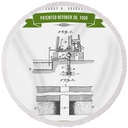 1906 Well Drilling Apparatus Patent Drawing - Retro Green Round Beach Towel