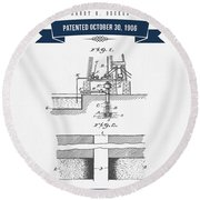 1906 Well Drilling Apparatus Patent Drawing - Retro Navy Blue Round Beach Towel