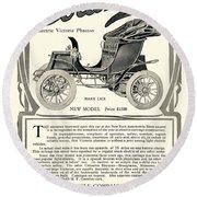 1907 - Columbia Victoria Phaeton Electric Automobile Advertisement Round Beach Towel