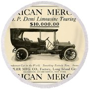 1907 - Daimler Manufacturing Company - American Mercedes Demi Limousine Automobile Advertisement Round Beach Towel